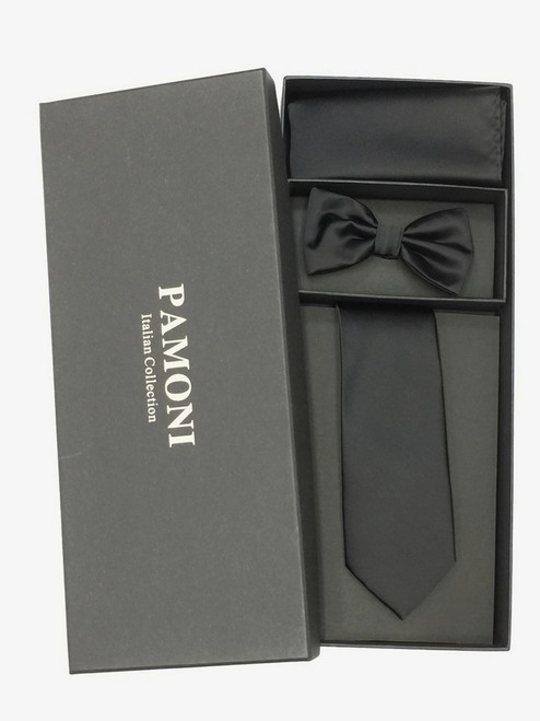 Plain Black Tie & Bow Tie Set in Pamoni presentation box