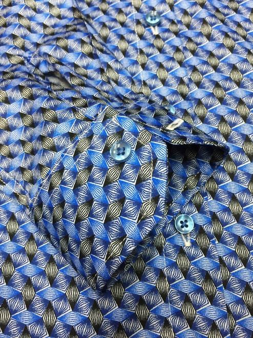 Blue & Black Diamond Print Fitted Shirt