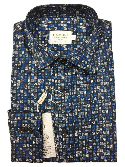 Blue & Grey Box Print Slim Fit Shirt Men's Shirt