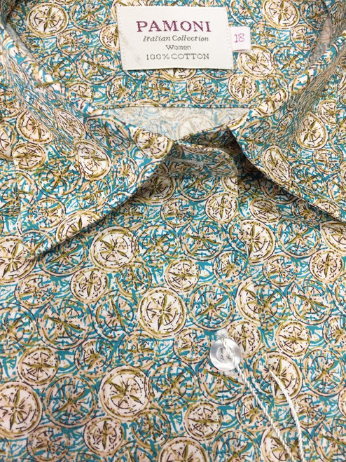 Green & Brown Print Fitted Shirt