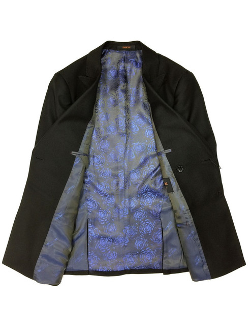 Plain black double breasted blazer with blue rose floral lining