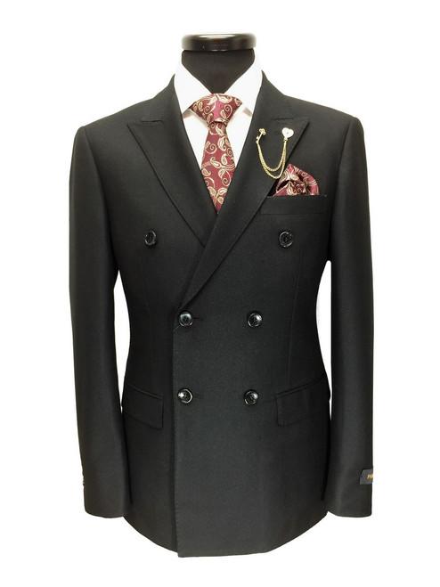 Plain black double breasted suit
