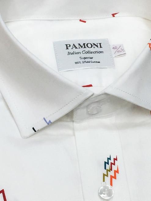 White Colour Print Slim Fit Shirt