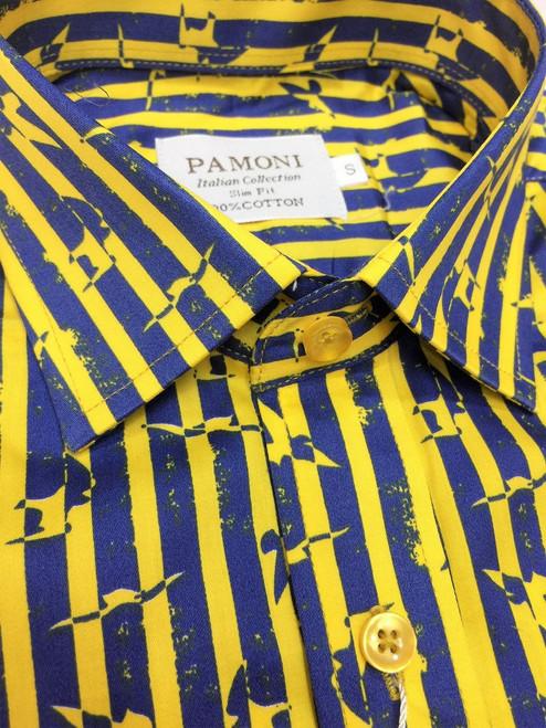 Yellow Stripe Print Design Short Sleeves Shirt