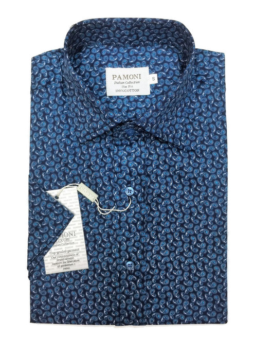 Blue Paisley Short Sleeves Shirt