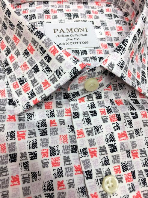 Red & Black Square Design Short Sleeves Shirt