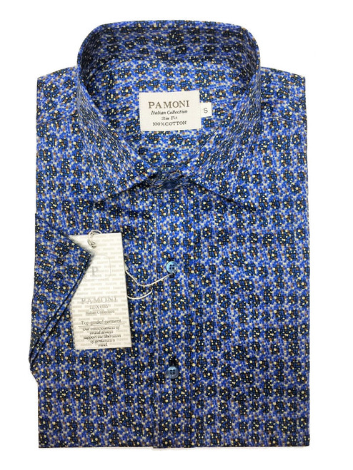 Blue Print Short Sleeves Shirt