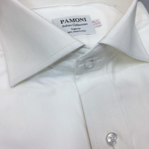 White Herringbone Slim Fit Shirt