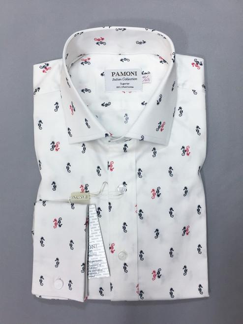 White Seahorse Print Slim Fit Shirt