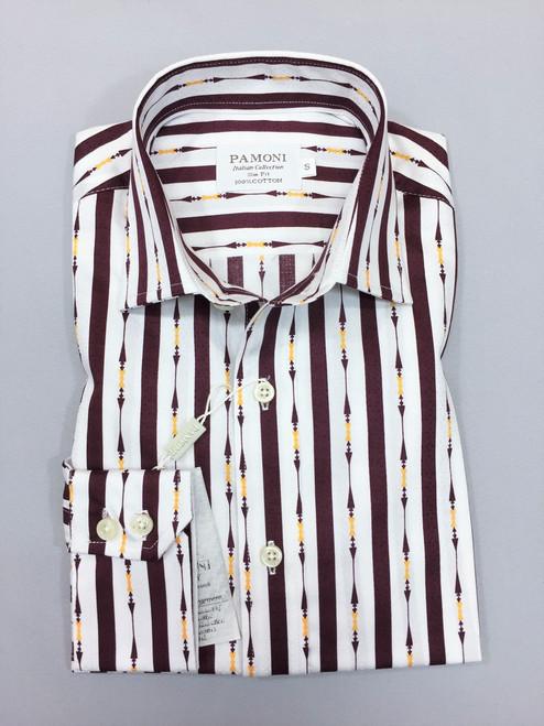 White Maroon Bold Stripe Slim Fit Shirt