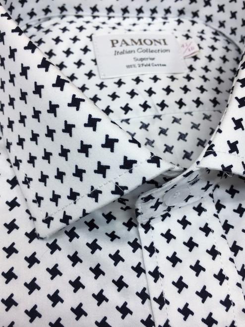 White Black Dogtooth Slim Fit Shirt