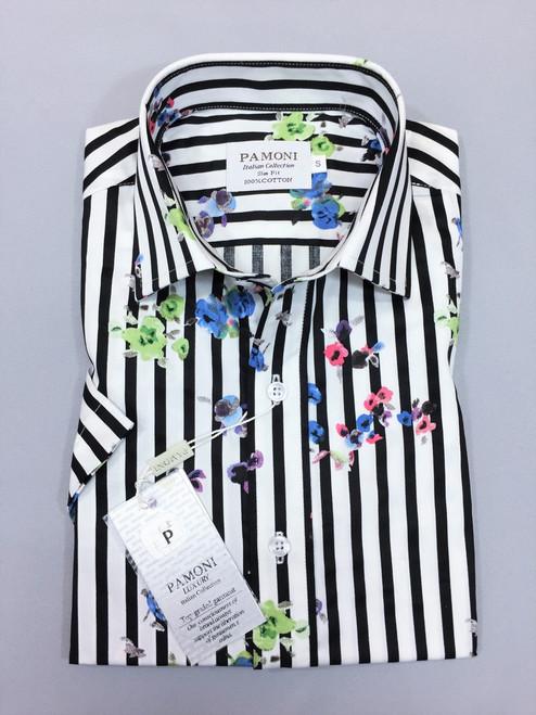 Black Stripe Floral Print Short Sleeves Shirt