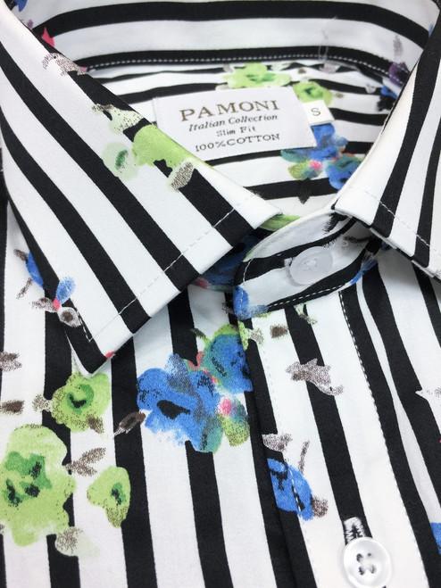 Close up of black Stripe Floral Print Short Sleeves Shirt