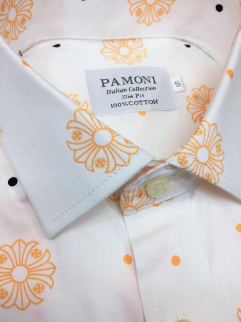 White Orange Flower Print Short Sleeves Shirt