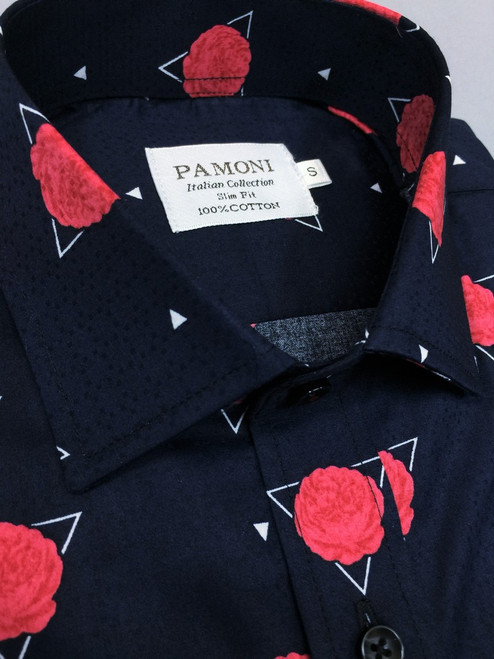 Navy Red Flower Print Short Sleeves Shirt