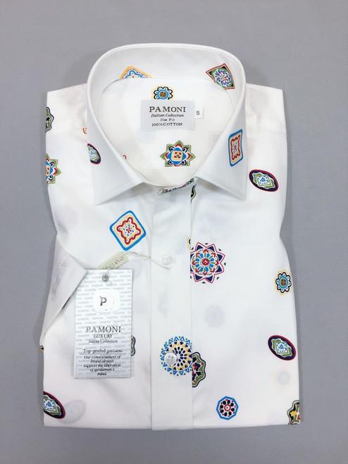 White Symbol Print Short Sleeves Shirt