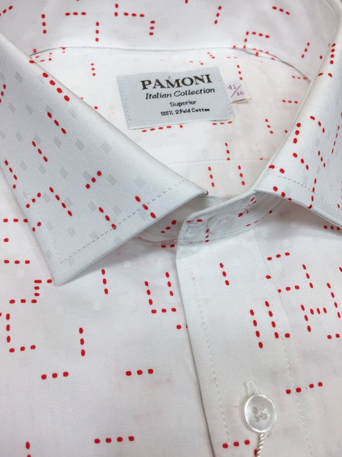 Red Dotted Print Slim Fit Shirt