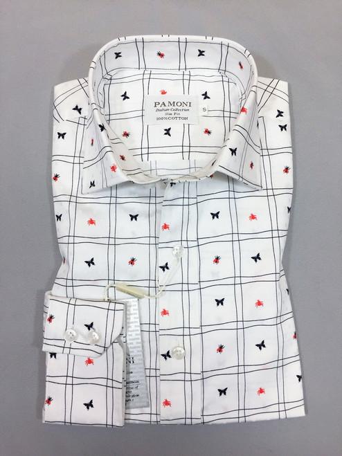 White Check Print Slim Fit Shirt