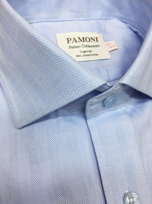 blue herringbone slim fit shirt - pamoni