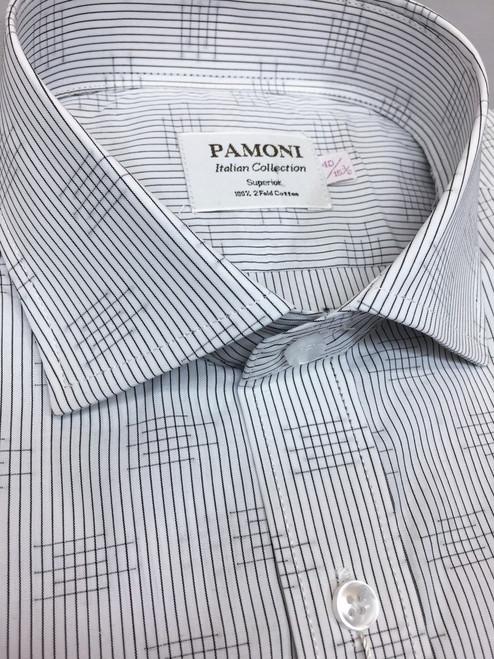 Grey Stripe Print Slim Fit Shirt