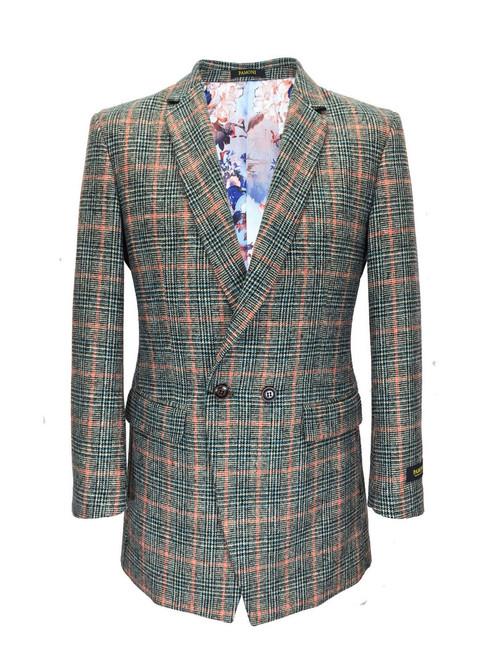 Houndstooth Green/orange Check 3/4 Coat