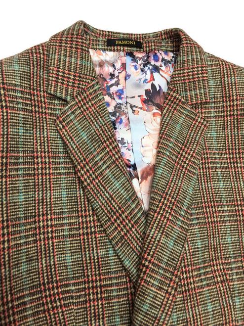 Houndstooth Orange/green Check 3/4 Coat