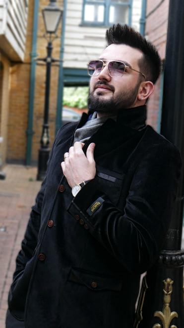 Black Velvet Casual Jacket on a model - Pamoni