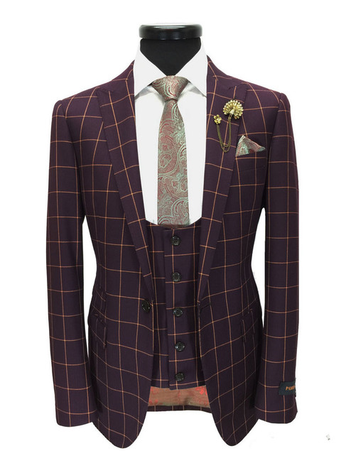 Maroon Check One Button 3-piece Suit