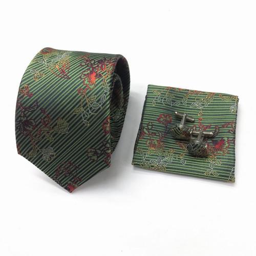 Floral Twill Tie & Cufflinks Set