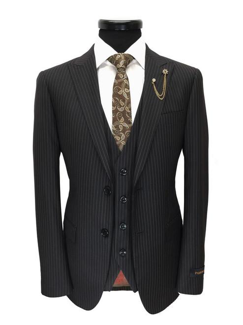 Black Brown Pinstripe Two Button 3-piece Suit