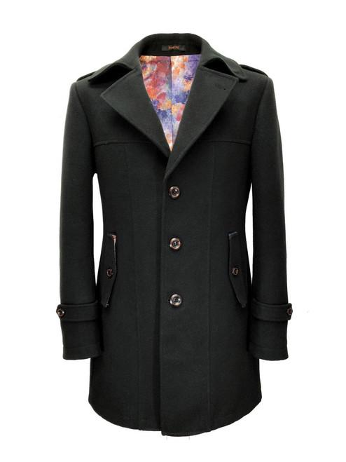 Slim Fit Black Wool Blend Coat
