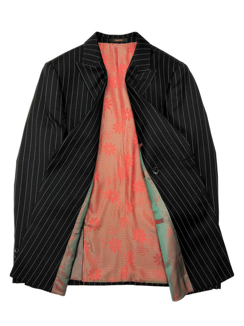 Black Pinstripe Double Breasted blazer with red floral lining
