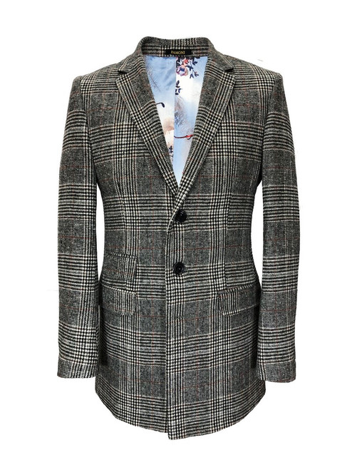 Grey Dogtooth Check Slim Fit Coat