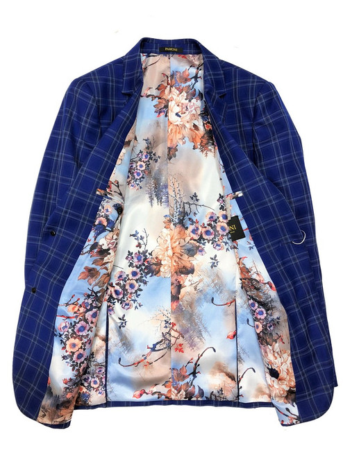 Royal blue check slim fit blazer  with Spring Paisley lining- Pamoni