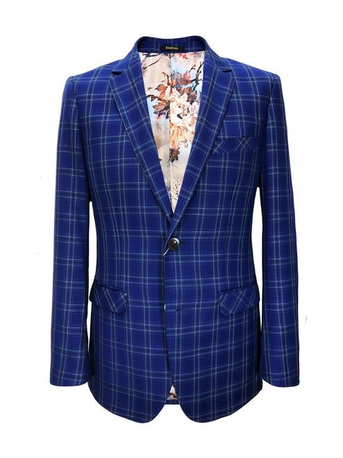 Royal blue check slim fit blazer - Pamoni