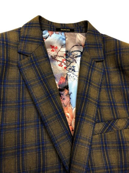 Brown with royal blue check two buttons blazer - Pamoni