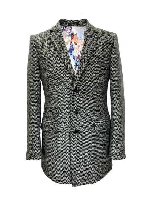 Grey herringbone slim fit coat - Pamoni