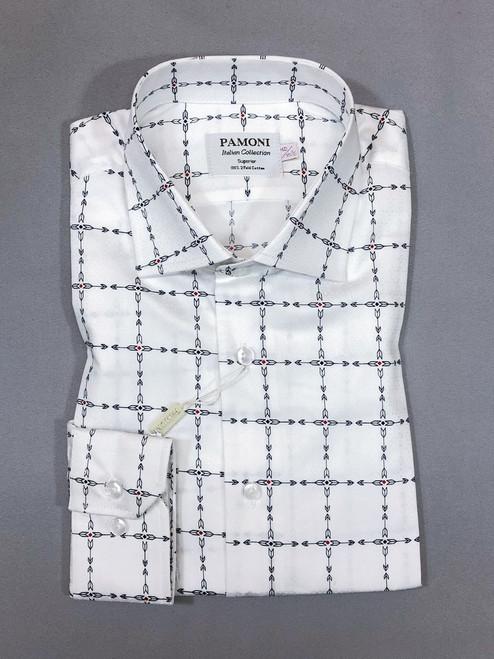 White Check Arrow Print Slim Fit Shirt