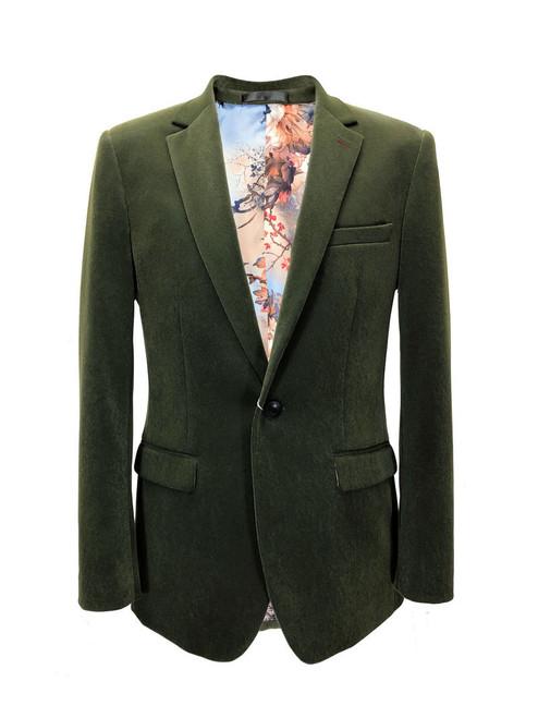 Green Velvet Slim Fit Blazer