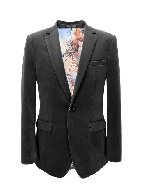 Grey Velvet Slim Fit Blazer