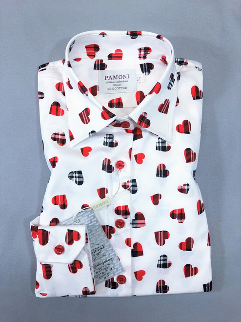 White Heart Print Fitted Shirt