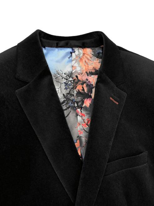 Close up of black velvet slim fit blazer