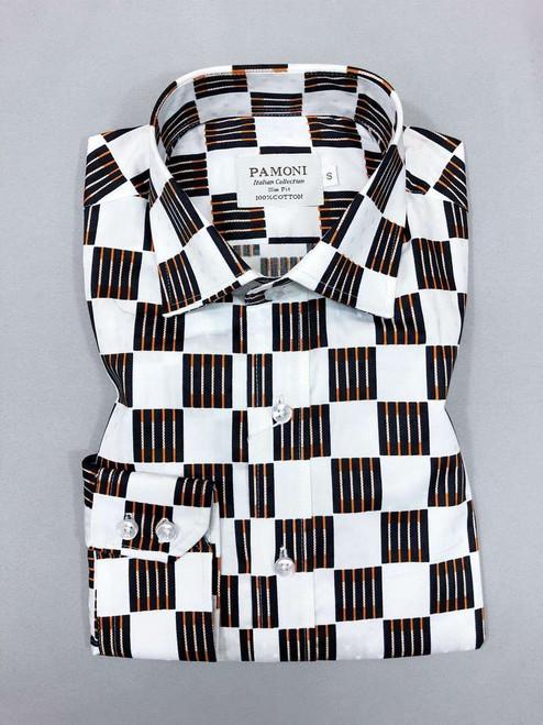 White Black/orange Square Slim Fit Shirt Men's Shirt