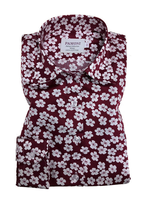 Burgundy White Flower Print Fitted Shirt