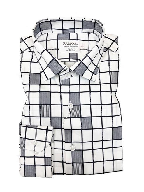 White Grey Pattern Check Slim Fit Shirt