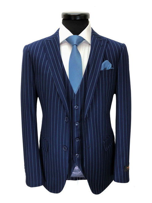 Blue pinstripe two-button suit with waistcoat - Pamoni