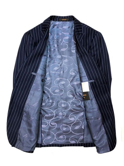 Blue pinstripe two-button blazer with blue paisley lining - Pamoni