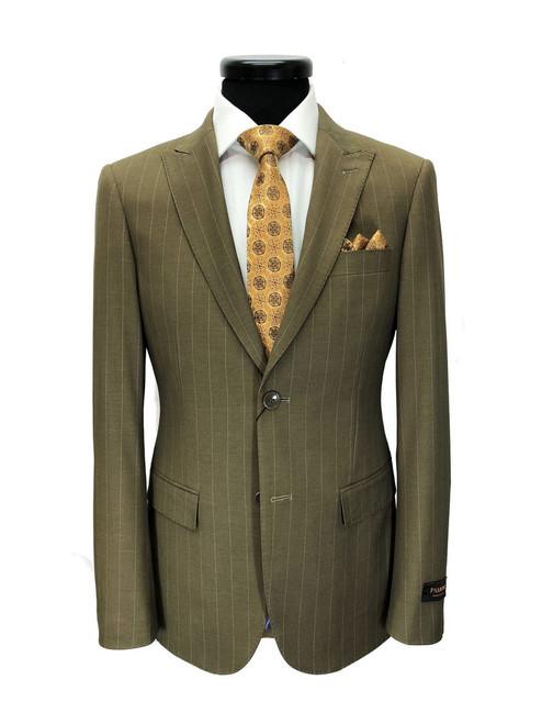 Brown Pinstripe 2-button Slim Fit Suit