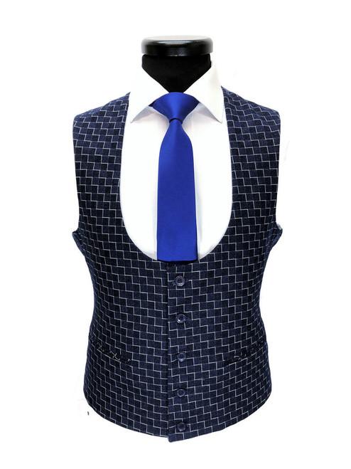 Blue Zigzag Pattern 3-piece Suit