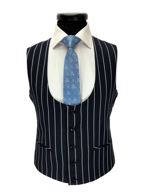 Navy Bold Stripe 2-button 3-piece Suit